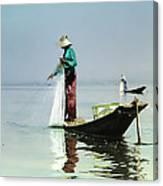 Net Fishing On Inle Lake Canvas Print
