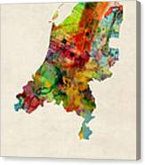 Netherlands Watercolor Map Canvas Print