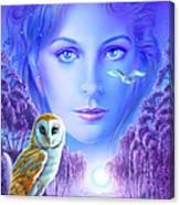 New Age Owl Girl Canvas Print