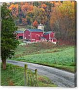 New England Farm Square Canvas Print