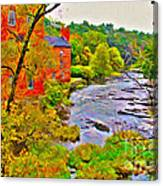New England Stream In Fall Canvas Print