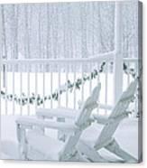 New England Winter Porch Canvas Print