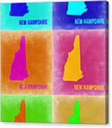 New Hampshire Pop Art Map 2 Canvas Print