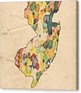 New Jersey Map Vintage Watercolor Canvas Print