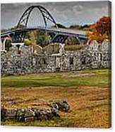 New Lake Champlain Bridge Over Fort Crown Point Panorama Canvas Print
