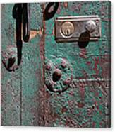 New Lock On Old Door 3 Canvas Print