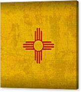 New Mexico State Flag Art On Worn Canvas Canvas Print