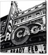 Chicago Theatre Sign Black and White Photo Canvas Print