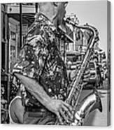 New Orleans Jazz Sax Bw Canvas Print