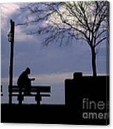 New Orleans Riverwalk Silhouette Canvas Print