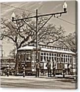 New Orleans Streetcar Sepia Canvas Print
