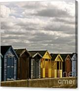 Colourful Wooden English Seaside Beach Huts Canvas Print
