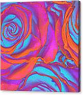 Pop Art Pink Neon Roses Canvas Print