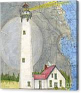 New Presque Isle Lighthouse Mi Nautical Chart Map Art Canvas Print