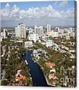 New River And Downtown Fort Lauderdale Canvas Print