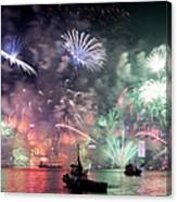 New Year Fireworks Hong Kong Asia Canvas Print