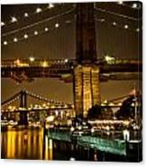 New York - Brooklyn Bridge Night Canvas Print