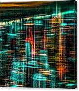 New York - The Night Awakes - Green Canvas Print