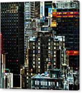New York At Night - Skyscrapers And Office Windows Canvas Print