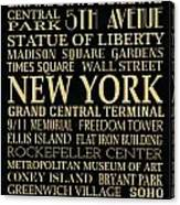 New York Attractions Canvas Print