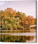 New York City - Autumn - Central Park - Lake And Bow Bridge Canvas Print