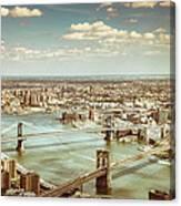 New York City - Brooklyn Bridge And Manhattan Bridge From Above Canvas Print