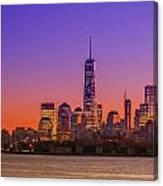 New York City Manhattan Midtown Panorama At Dusk With Skyscraper Canvas Print