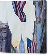 New York City - Manhattan Stars And Stripes Canvas Print