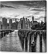 New York City Skyline Sunset Hues Bw Canvas Print