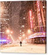 New York City - Snow And Empty Streets - Radio City Music Hall Canvas Print