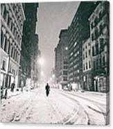 New York City - Snow - Empty Streets At Night Canvas Print