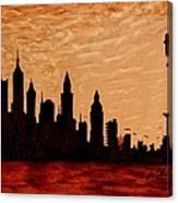 New York City Sunset Silhouette Canvas Print