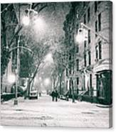 New York City - Winter Night In The West Village Canvas Print