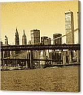 New York Downtown Manhattan Skyline - Yellow Panorama Canvas Print
