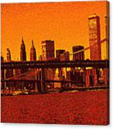 New York Downtown Manhattan Skyline Red Canvas Print
