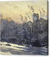 New York Harbor And Skyline At Night Circa 1921 Canvas Print