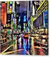 New York Lights In Rain Canvas Print