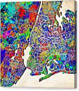 New York Map Abstract 2 Canvas Print