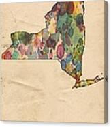 New York Map Vintage Watercolor Canvas Print