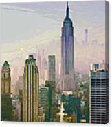 New York Misty Morning Canvas Print