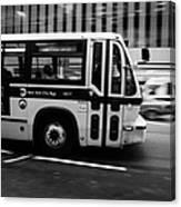 New York Mta City Bus Speeding Along 34th Street Usa Canvas Print