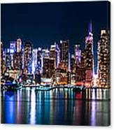 New York Panorama By Night Canvas Print