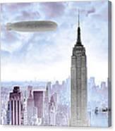 New York Skyline And Blimp Canvas Print