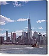 New York Skyline And Boat Canvas Print