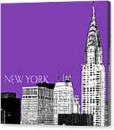 New York Skyline Chrysler Building - Purple Canvas Print