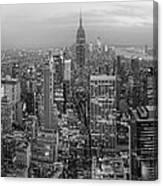 New York Skyline Panorama Bw Canvas Print