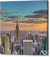 New York Skyline Sunset Canvas Print