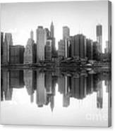 New York Skyline Sunset Bw Canvas Print