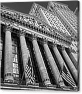 New York Stock Exchange Wall Street Nyse Bw Canvas Print