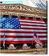 New York Stock Exchange With Us Flag Canvas Print